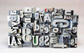 Metal Type Printing Press Typeset Obsolete Typography Text Letters Sign — Stock Photo