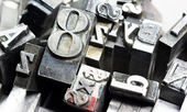 Metal Type Printing Press Typeset Obsolete Typography Text Letters Sign — Foto de Stock