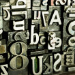 Stock Photo: Metal Type Printing Press Typeset Obsolete Typography Text Letters