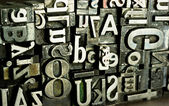 Metal Type Printing Press Typeset Obsolete Typography Text Letters — Stock Photo