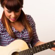 Attractive Woman Torso Holding Playing Guitar Acoustic Musician — Photo