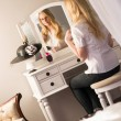 Beautiful Blonde Woman Brushing Hair Bedroom Vanity Natural Beau — Stock Photo