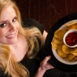 Young Attractive Female Server Brings Appetizer Chips Salsa Food — Stock Photo #42892597
