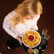 Young Attractive Female Server Brings Tray Chips Salsa Bean Appetizer — Stock Photo