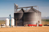 Agricultural Silo Loads Semi Truck With Farm Grown Food Grain — Photo