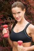 Young Adult Beautiful Brunette Woman Running Weights in Park — Stockfoto