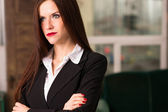 Business Woman Female Arms Crossed Serious Office Workplace — Stok fotoğraf