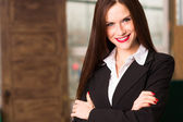 Business Woman Female Arms Crossed Smiling Office Workplace — Foto de Stock