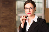Business Woman Female Holds Pen Taking Dictation Office Workplace — Stock Photo