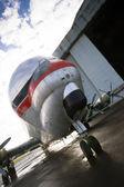 Vintage Prop Plane Stands Tarmac Airport Hangar Unusual Airplane — Stock Photo
