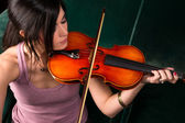 Sensual Attractive Brunette Woman Playing Concert Acoustic Stringed Violin — Photo