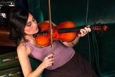 Sensual Attractive Brunette Woman Playing Concert Acoustic Stringed Violin — Stock Photo