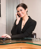 Beautiful Woman Attractive Business Person Office Desk Answering — Stock Photo