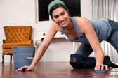 Adorable Housewife Doing Cleaning Chores Scrubbing Wood Floor — Stok fotoğraf