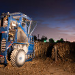 Night Time Agriculture Fruit Harvest Grape Harvesting Machine Food Produce — Stock Photo #45001717