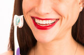 Attractive Woman Wonderful Smile Adult Female Brushing Teeth Toothbrush — Stock Photo