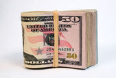 Folded Wad Fifty Dollar Bills American Money Cash Tender — Stock Photo