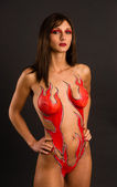 Beautiful Brunette Woman Nude Body Paint Flames Goddess Fire — Stock Photo