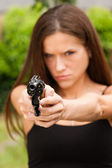 Angry Beautiful Brunette Woman Points Loaded Handgun Self Defense — Stock Photo