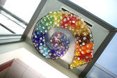 Round Blown Art Glass Float Nautilus Themed Installation — Stock Photo