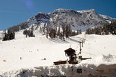 Ski Lift Snow Skiing Slopes North Cascades Summit Snoqualmie — Stock Photo