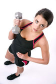 Smooth Skin Beautiful Brunette Woman Working Out Weight Barbell — Stock Photo