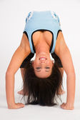 Beautiful Flexible Acrobatic Woman Arched Backwards Two Arm Stand — Stock Photo