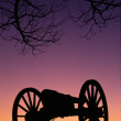 War Memorial Wheeled Cannon Military Civil War Weapon Dusk Sunset — Stock Photo #48158117