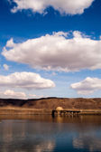 Vertical Banner Columbia River Crossing Mountains Blue Sky Cloud — Stock Photo
