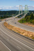Highway 16 Crossing Puget Sound Over Tacoma Narrows Bridge — Stock Photo