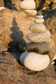 Beach Rock Stacking Balancing Vertical Composition — 图库照片