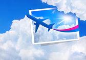 Airplane flight cloud sky blue — Stock Photo
