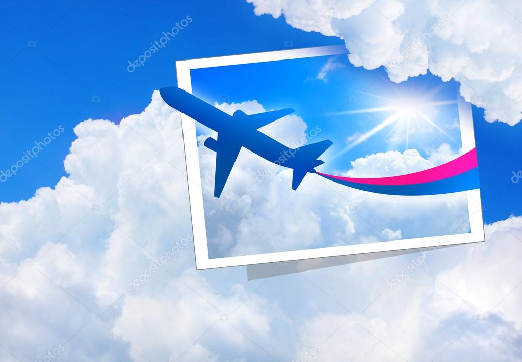 Airplane flight tickets air fly cloud sky blue travel blank — Stock Photo #12673297