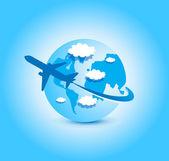 Airplane blue sky globe — Stock Vector