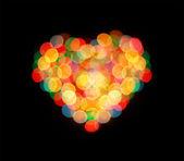 Boke love heart abstract defocused red yellow green blue black b — Stock Photo