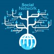 Wektor stockowy : Social network globe worldwide