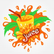 Stock Vector: Juice drink beverage splash orange