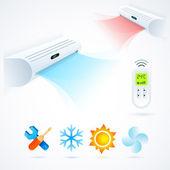 Condicionadores de ar cool divertido branco de elemento do clima azul — Vetor de Stock