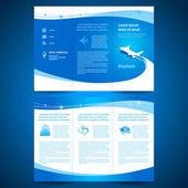 宣传册文件夹单张飞机航空公司航班运输 l — 图库矢量图片