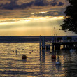 Sunset on lake Geneva — Stock Photo