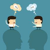 Pensamiento y la idea de negocio — Vector de stock