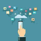 Amplia comunicación mundial — Vector de stock