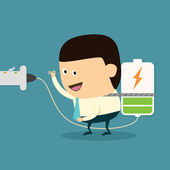 Businessman with charging battery — Stock Vector