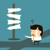 Businessman with the alternative choice — Stock Vector