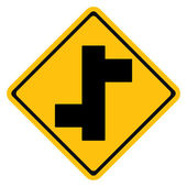 Warning traffic sign, Staggered Junction — Stock Vector