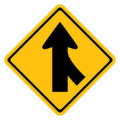 Warning traffic sign,Traffic merges from the right — Stockvektor