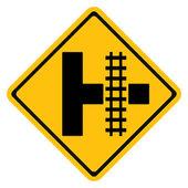 Warning traffic sign Railroad crossing — Vecteur