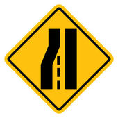 Warning traffic sign, Road narrows on left — Vecteur