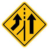 Warning traffic sign MERGING LANE — Vecteur