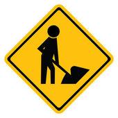 Warning traffic sign HAVE WORKING ROADSIDE — Stockvektor